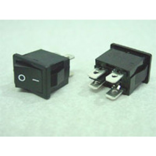 Rocker Switch Black ON/OFF DPST 6A 250VAC Panel Mount, Snap-In
