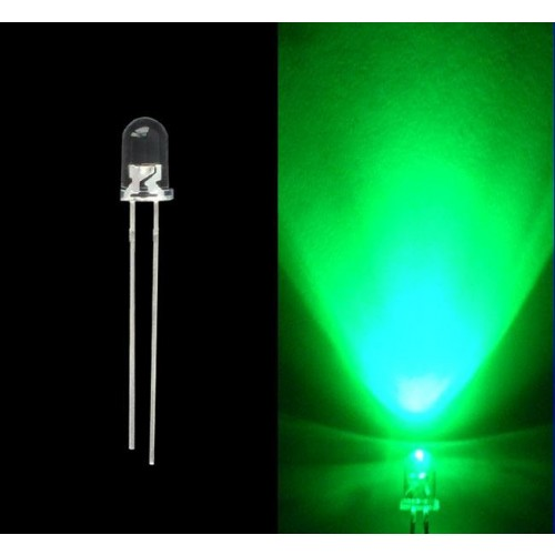 Led 5mm Green Water Clear Super Bright