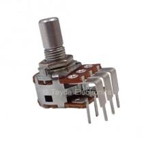 500K OHM Logarithmic Dual Taper Potentiometer PCB Mount Round Shaft Dia: 6.35mm
