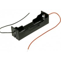 1x18650 Lithium Battery Holder Case Black PCB 2 Pin With Wire Leads