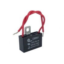 CBB61 Motor Fan Capacitor 1.5uF 5% 450VAC with Wire leads