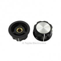 Boss Style Silver Top Black Knob 33mm