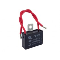 CBB61 Fan Capacitor 2.0uF 5% 400VAC with Wire leads