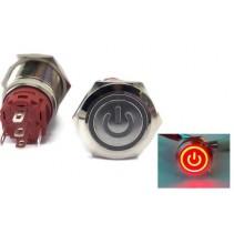 illumination Red LED Power Mark Metal Waterproof Push Button Switch Latching 19mm
