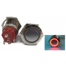illumination Red LED Ring Metal Waterproof Push Button Switch Latching 19mm