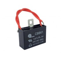 CBB61 Fan Capacitor 4uF 5% 400VAC 50Hz with Wire leads