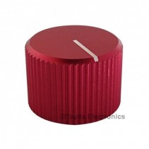 Knurled Aluminum Red Knob 6.35mm