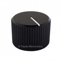 Knurled Aluminum Black Knob 6.35mm