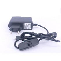 YGY AC  100V-240V to DC 5V 3A Micro USB Power Supply Adapter EU Plug On/Off Switch Button