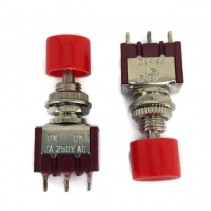 Push Button Switch Latching Panel Mount Red Knob 3 Pin SPDT