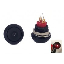 Illuminated Push Button Switch Momentary SPST Black Flat Cap with LED Red Color