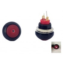 Illuminated Push Button Switch Momentary SPST Red Flat Cap with LED White Color