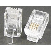 Modular Plug 4P4C RJ9 50 Micron Gold Plate For Flat Cable Clamp