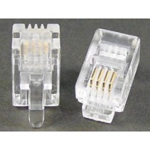 Modular Plug 4P4C RJ9 50 Micron Gold Plate For Round Cable Clamp