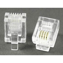 Modular Plug 6P4C RJ11 50 Micron Gold Plate For Flat Cable Clamp
