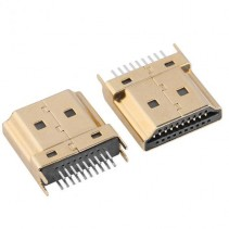 HDMI 19 Pin Male Solder Type Pitch 0.5mm Gold Plated