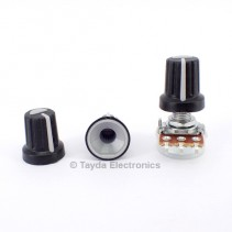 Black Plastic Knob with Grey Pointer
