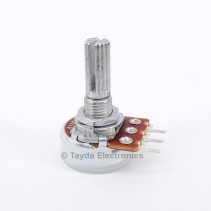 100K OHM Logarithmic Taper Potentiometer PCB Mount Knurled Shaft Dia: 6mm Total Shaft Length:20 mm