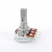 100K OHM Linear Taper Potentiometer PCB Mount Knurled Shaft Dia: 6mm Total Shaft Length:20 mm