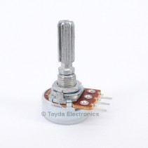 100K OHM Logarithmic Taper Potentiometer PCB Mount Knurled Shaft Dia: 6mm Total Shaft Length:25 mm