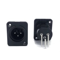 3 Pin XLR Male Panel Mount Chassis Socket Right Angle