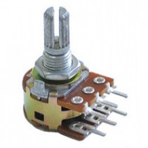 50K OHM Logarithmic Dual Taper Potentiometer Center Detent PCB Mount Knurled Shaft Dia: 6mm Total Shaft Length:20 mm