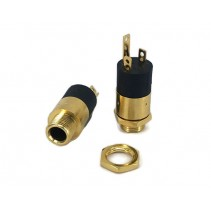 PJ-392 3.5mm Stereo Enclosed Chassis Socket Jack Gold Plated