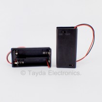 2 x AA Battery Holder Black with Cover and Switch ON/OFF