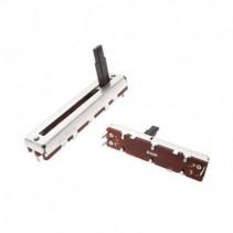 50K OHM Logarithmic Taper Slide Potentiometer PCB Mount Plastic Shaft Lever Height: 15mm Center Click