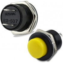 PUSH BUTTON SWITCH MOMENTARY Yellow Color SPST 3A 250VAC