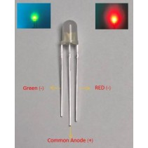 Bi-color LED Red/Green 5mm Common Anode