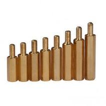 Brass Standoff Spacer Golden Screw Hex Male M3x12.5mm