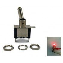 Toggle Switch Aircraft SPST On-Off 12V 20A Red LED