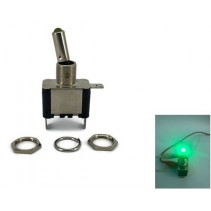 Toggle Switch Aircraft SPST On-Off 12V 20A Green LED