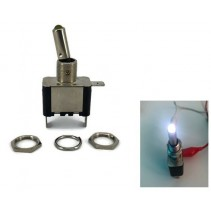 Toggle Switch Aircraft SPST On-Off 12V 20A White LED