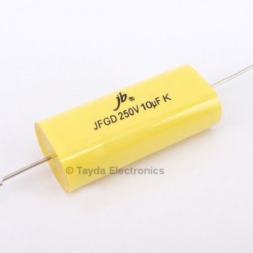 10uF 250V 105C 10% Axial Flat Oval Metallized Polypropylene Capacitor