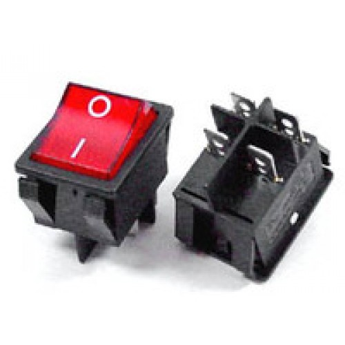 Rocker Switch Red ON/OFF DPST (with lamp) 16A 250VAC Panel Mount, Snap-In