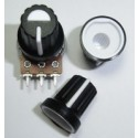 Black Plastic Knob with White Pointer