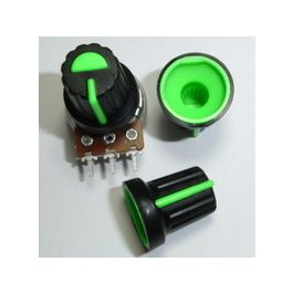 Black Plastic Knob with Green Pointer
